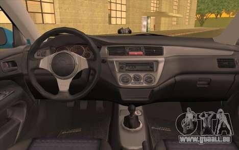 Mitsubishi Lancer Evolution Stance pour GTA San Andreas vue arrière