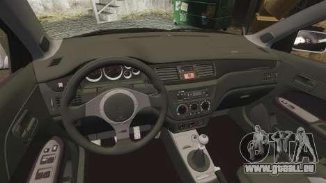 Mitsubishi Lancer Evolution IX Uk Police [ELS] pour GTA 4 est une vue de l'intérieur