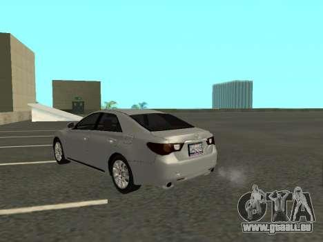 Toyota Mark X pour GTA San Andreas sur la vue arrière gauche