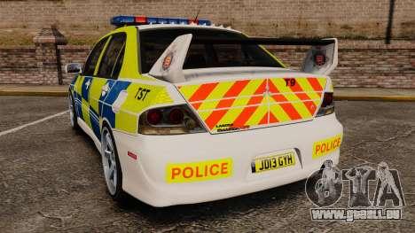 Mitsubishi Lancer Evolution IX Uk Police [ELS] pour GTA 4 Vue arrière de la gauche