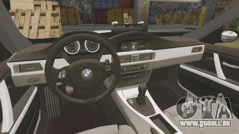 BMW M3 Unmarked Police [ELS] pour GTA 4 est une vue de l'intérieur
