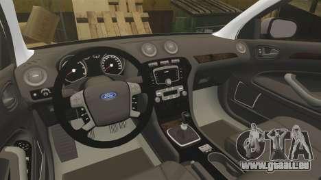 Ford Mondeo Metropolitan Police [ELS] pour GTA 4 est une vue de l'intérieur