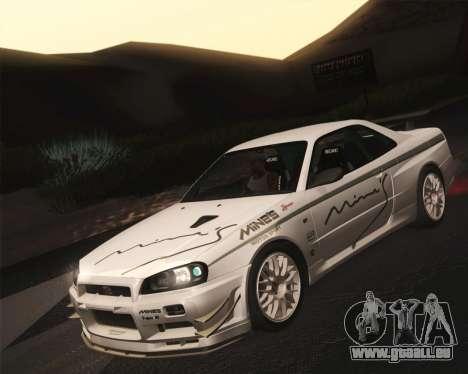 Nissan Skyline Mines R34 2002 für GTA San Andreas rechten Ansicht