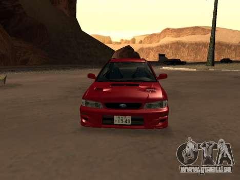 Subaru Impreza Wagon für GTA San Andreas Innenansicht