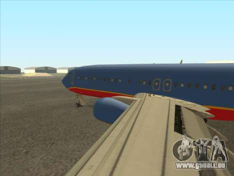 Boeing 737 Southwest Airlines für GTA San Andreas zurück linke Ansicht
