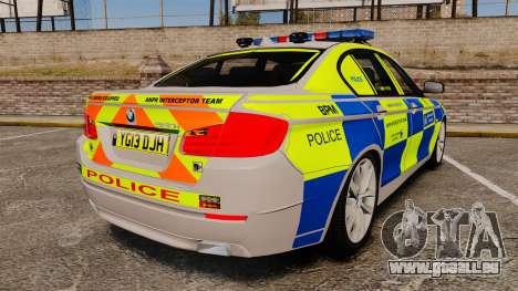 BMW 550i Metropolitan Police [ELS] pour GTA 4 Vue arrière de la gauche