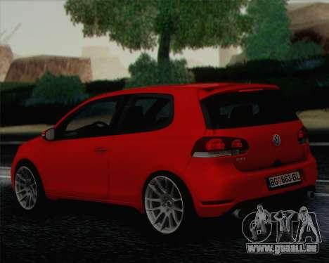 Volkswagen Golf Mk6 pour GTA San Andreas laissé vue