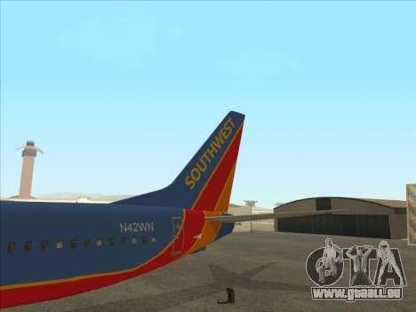 Boeing 737 Southwest Airlines für GTA San Andreas obere Ansicht