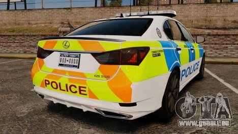 Lexus GS350 West Midlands Police [ELS] pour GTA 4 Vue arrière de la gauche