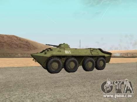 BTR-70 pour GTA San Andreas sur la vue arrière gauche