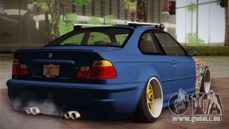 BMW M3 E46 Hellaflush pour GTA San Andreas sur la vue arrière gauche