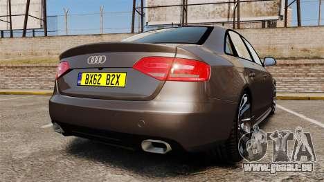 Audi S4 2013 Unmarked Police [ELS] pour GTA 4 Vue arrière de la gauche