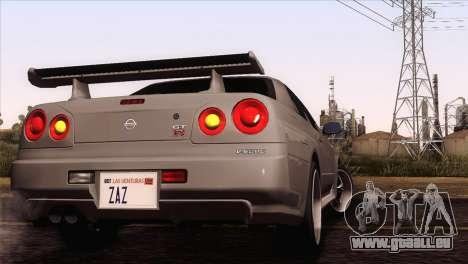 Nissan Skyline GT-R R34 V-Spec Lexani Rims pour GTA San Andreas sur la vue arrière gauche