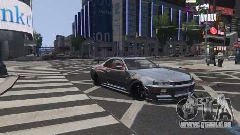 Nissan Skyline GTR-34 Nismo Z-Tune pour GTA 4 est une vue de dessous