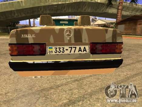 Mercedes-Benz 190E Army pour GTA San Andreas laissé vue