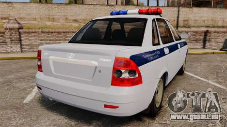 VAZ-2170 de la Police pour GTA 4 Vue arrière de la gauche