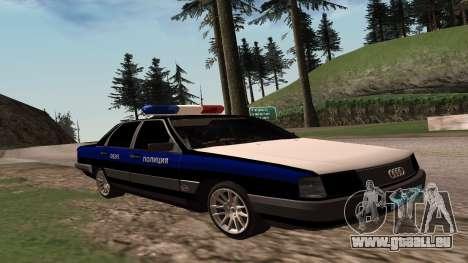 Audi 100 de la Police ОБЭП pour GTA San Andreas sur la vue arrière gauche