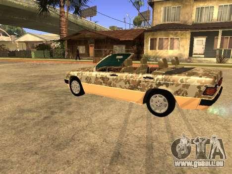 Mercedes-Benz 190E Army pour GTA San Andreas vue arrière