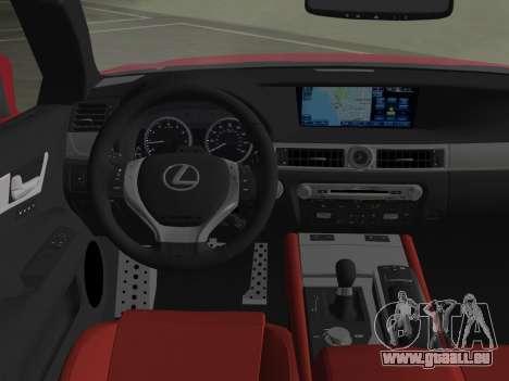 Lexus GS350 F Sport 2013 für GTA Vice City Ansicht von unten