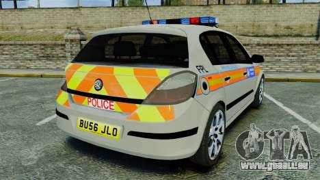Vauxhall Astra Metropolitan Police [ELS] pour GTA 4 Vue arrière de la gauche
