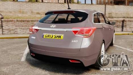 Hyundai i40 2013 Unmarked Police [ELS] pour GTA 4 Vue arrière de la gauche