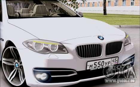 BMW 550 F10 xDrive für GTA San Andreas zurück linke Ansicht