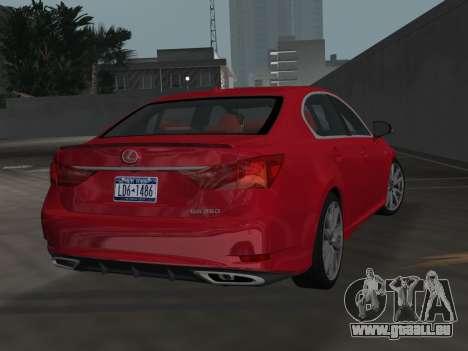 Lexus GS350 F Sport 2013 pour une vue GTA Vice City de la gauche