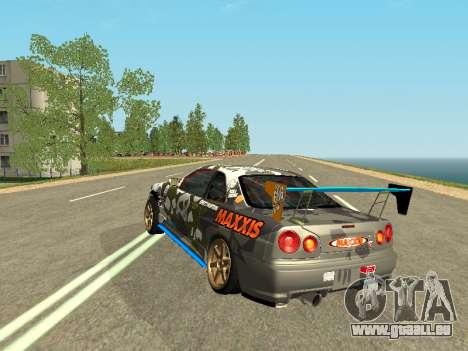 Nissan Skyline Drift pour GTA San Andreas sur la vue arrière gauche