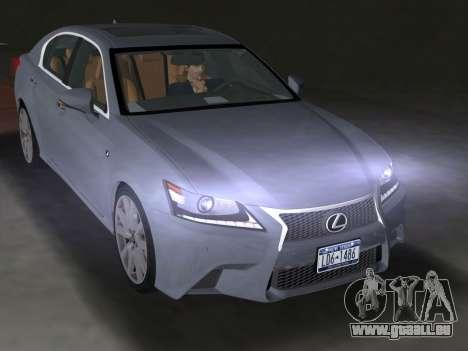 Lexus GS350 F Sport 2013 pour GTA Vice City sur la vue arrière gauche