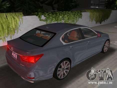 Lexus GS350 F Sport 2013 pour une vue GTA Vice City de l'intérieur