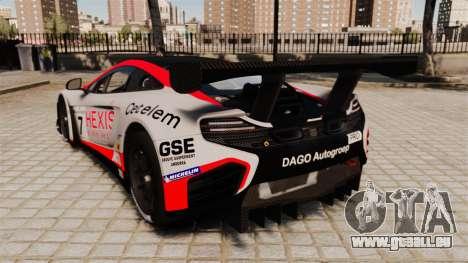 McLaren MP4-12C GT3 pour GTA 4 Vue arrière de la gauche