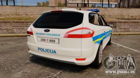 Ford Mondeo Croatian Police [ELS] pour GTA 4 Vue arrière de la gauche