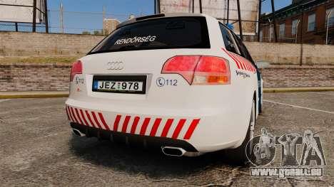 Audi S4 Avant Hungarian Police [ELS] pour GTA 4 Vue arrière de la gauche