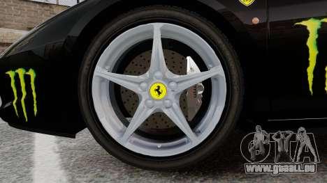 Ferrari 458 Italia 2010 Monster Energy pour GTA 4 Vue arrière