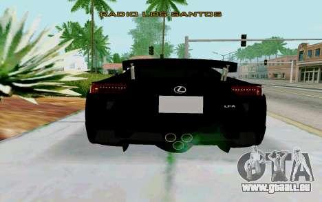 Lexus LFA Street Edition Djarum Black pour GTA San Andreas sur la vue arrière gauche