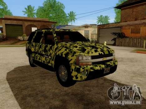 Chevrolet TrailBlazer Army pour GTA San Andreas laissé vue