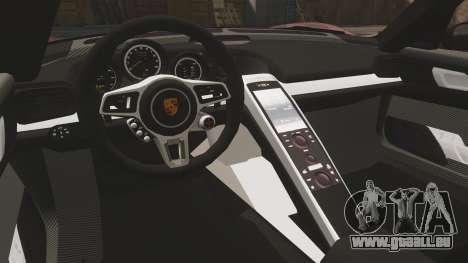 Porsche 918 Spyder für GTA 4 Innenansicht