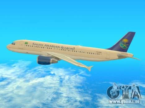 Airbus A320-200 Saudi Arabian für GTA San Andreas zurück linke Ansicht