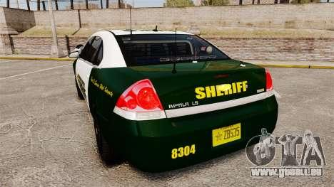 Chevrolet Impala 2010 Broward Sheriff [ELS] pour GTA 4 Vue arrière de la gauche