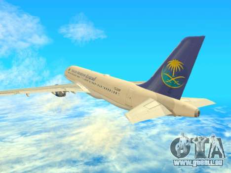 Airbus A320-200 Saudi Arabian für GTA San Andreas rechten Ansicht