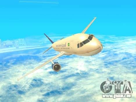 Airbus A320-200 Saudi Arabian für GTA San Andreas Rückansicht