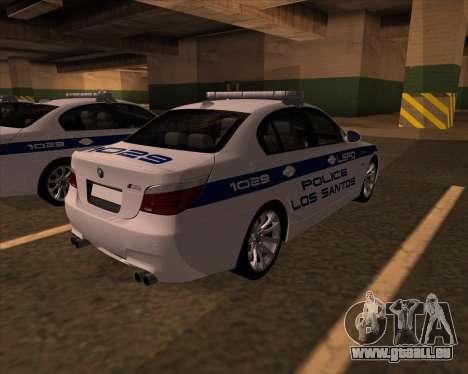 BMW M5 E60 Police LS pour GTA San Andreas sur la vue arrière gauche