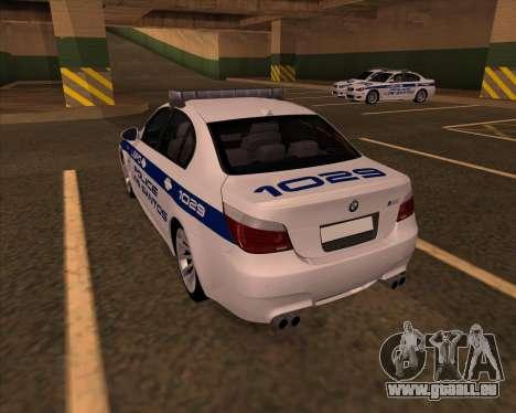 BMW M5 E60 Police LS pour GTA San Andreas laissé vue