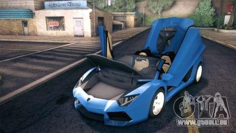Lamborghini Aventador Roadster für GTA San Andreas Seitenansicht
