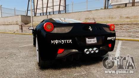 Ferrari 458 Italia 2010 Monster Energy pour GTA 4 Vue arrière de la gauche