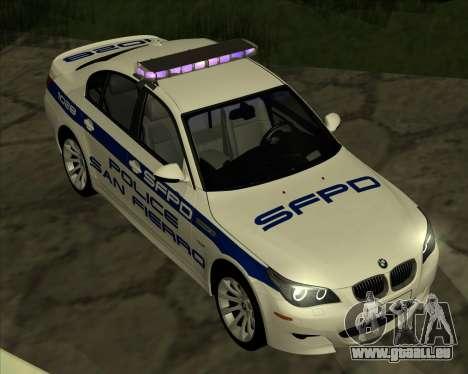 BMW M5 E60 Police SF pour GTA San Andreas sur la vue arrière gauche