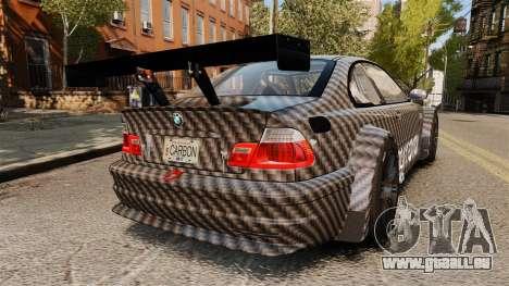 BMW M3 GTR 2012 Drift Edition pour GTA 4 Vue arrière de la gauche