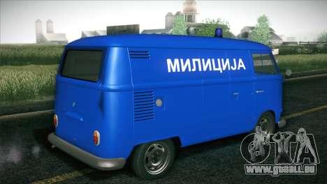 Volkswagen T1 Milicija pour GTA San Andreas sur la vue arrière gauche