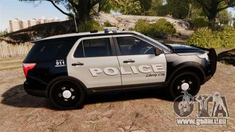 Ford Explorer 2013 LCPD [ELS] Black and Gray für GTA 4 linke Ansicht