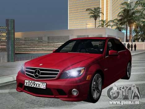 Mercedes-Benz C63 AMG HQLM pour GTA San Andreas vue arrière